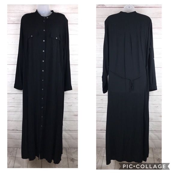 Sejour Plus Size Maxi Dress 14W Black Button Down